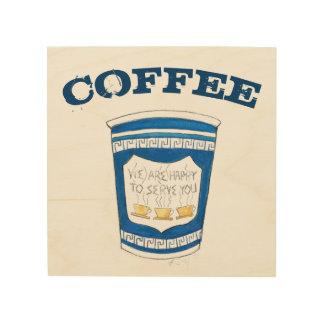Greek Coffee Cup NYC Diner Restaurant Foodie Wood Wall Art