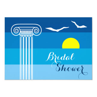 Greek column & seagulls wedding bridal shower card