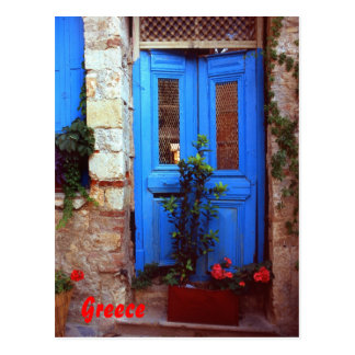 Greek door postcard