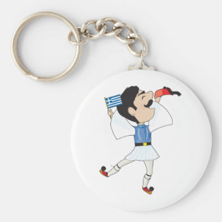 Greek Evzone dancing with Flag Basic Round Button Key Ring