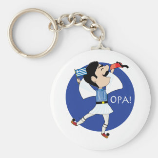 Greek Evzone dancing with Flag OPA! Basic Round Button Key Ring
