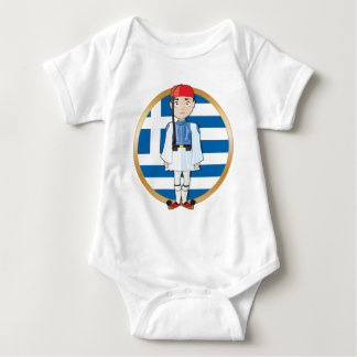 Greek Evzone with Flag Baby Bodysuit