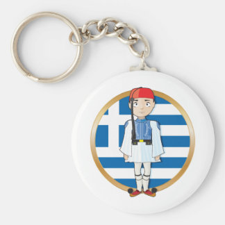 Greek Evzone with Flag Basic Round Button Key Ring