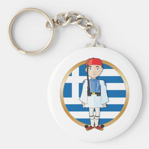 Greek Evzone with Flag Keychain