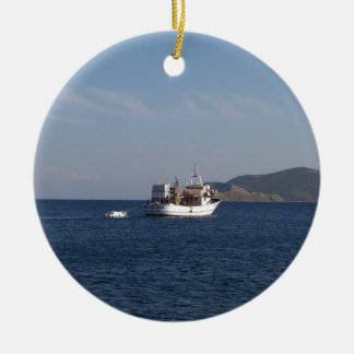 Greek Fishing Boat Ceramic Ornament