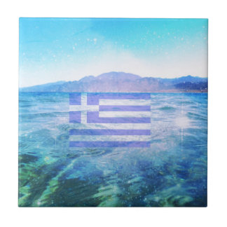 GREEK FLAG CERAMIC TILE