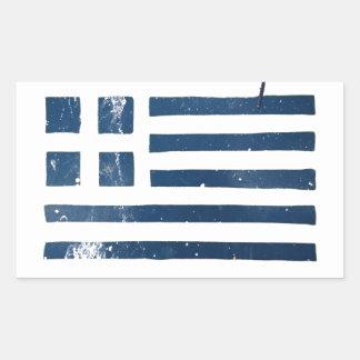 greek flag grunge stencil rectangular sticker