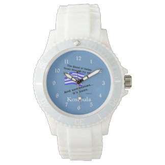 Greek Flag Hellas Blood and Ouzo and Name Wristwatch