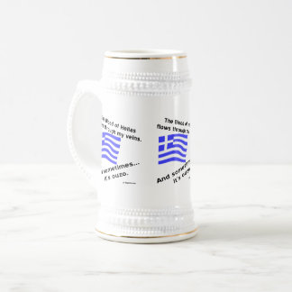 Greek Flag Hellas Blood and Ouzo Times 3 Beer Stein