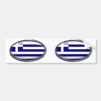 Greek Flag in Glass Oval Bumper Stickers