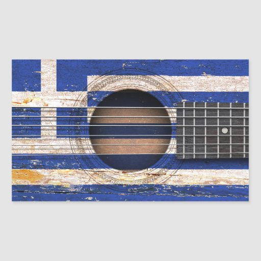 Greek Flag on Old Acoustic Guitar Rectangular Stickers