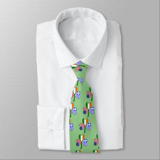 Greek Flag Shamrock Tie
