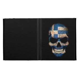 Greek Flag Skull on Black iPad Folio Case