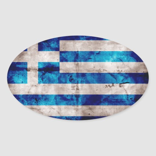 Greek Flag Oval Stickers