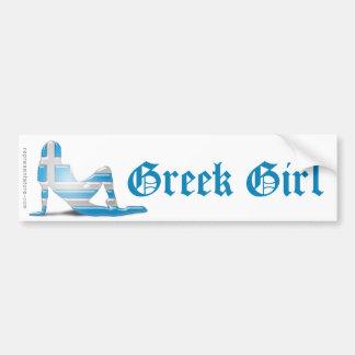 Greek Girl Silhouette Flag Bumper Sticker