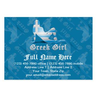Greek Girl Silhouette Flag Business Card Template