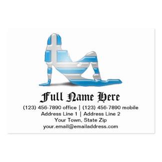 Greek Girl Silhouette Flag Business Card