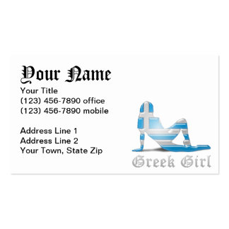 Greek Girl Silhouette Flag Business Cards
