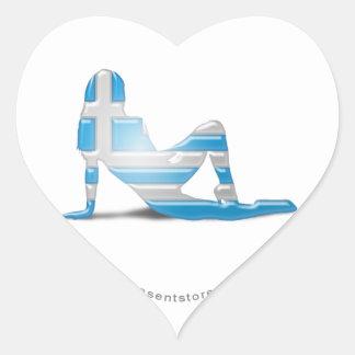 Greek Girl Silhouette Flag Heart Sticker