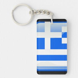 Greek glossy flag Double-Sided rectangular acrylic key ring