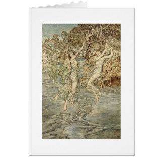 Greek Goddesses Over Water (Blank Inside) Card