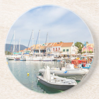 Greek harbor with sailing boats in Fiskardo Coasters