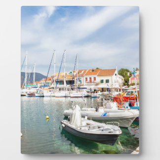 Greek harbor with sailing boats in Fiskardo Plaque