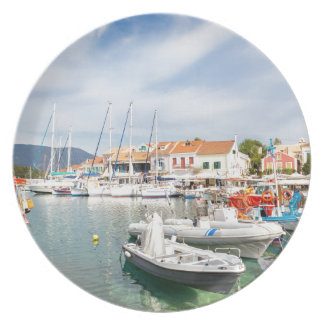 Greek harbor with sailing boats in Fiskardo Plate