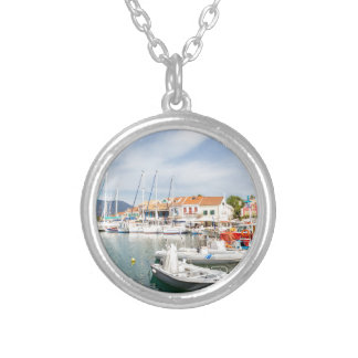 Greek harbor with sailing boats in Fiskardo Silver Plated Necklace