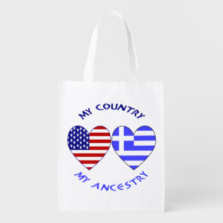 Greek Heart Flag Country Ancestry Reusable Grocery Bag