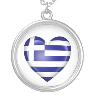 Greek Heart Flag on White Silver Plated Necklace
