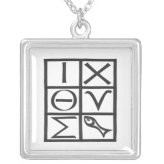 Greek ICQUS (fish) Silver Plated Necklace