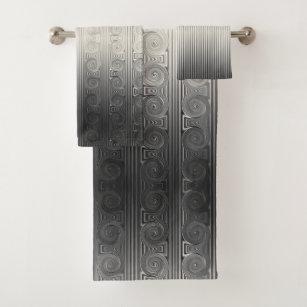 Greek Ionic Column Scroll and Line Ombre Grey Bath Towel Set