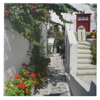 Greek Island Street Large Square Tile