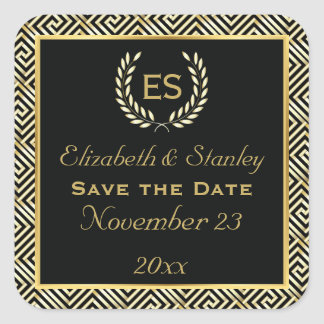 Greek key and laurel wreath wedding Save the Date Square Sticker