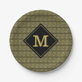 Greek Key Classic Design In Gold & Black 7 Inch Paper Plate