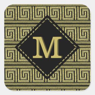 Greek Key Classic Design In Gold & Black Square Sticker
