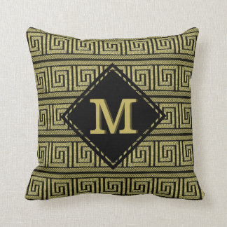 Greek Key Classic Design In Gold & Black Throw Pillow