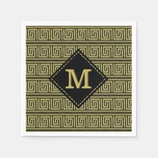 Greek Key Classic Design In Golds & Black Disposable Napkins