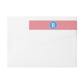 Greek Key Custom Monogram Return Address Label Wraparound Return Address Label