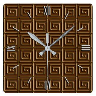 Greek Key design - dark chocolate Square Wall Clock