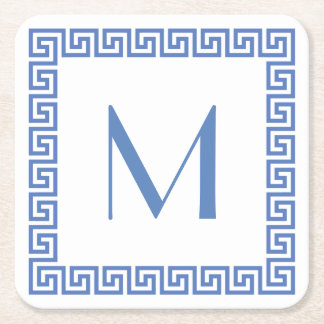 Greek Key Design Monogram Square Paper Coaster