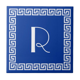 Greek Key Design Monogram Tile