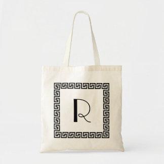 Greek Key Design Monogram Tote Bag