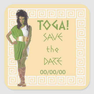 Greek Key Green Save the Date Square Sticker