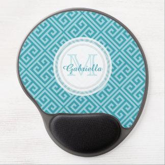 Greek Key Mermaid Blue Monogram Mouse Pad