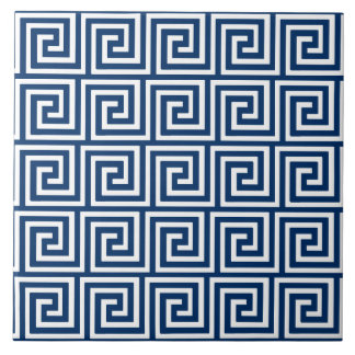 Greek Key, navy blue and white Ceramic Tile