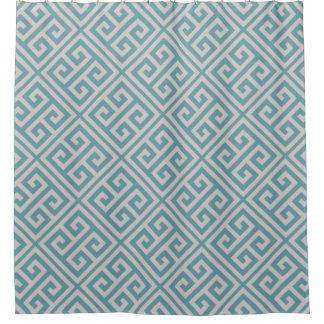 Greek Key Pattern Shower Curtain Dusky Blue & Gray