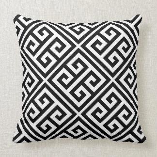Greek Key Pattern Throw Pillow In Black & White