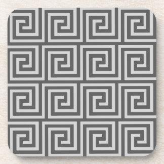 Greek Key, shades of grey / gray Coaster
